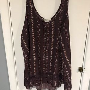 Small floral print purple tank